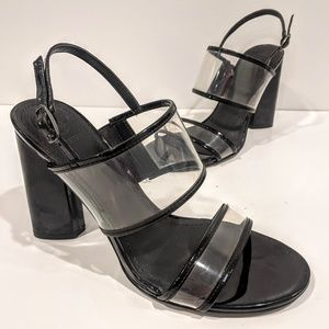 Guess Clear Lucite Black Chunky Strap Heel Sandals